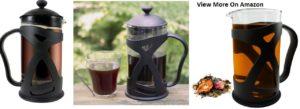 KONA French Press Coffee Tea & Espresso Maker, Black 34oz Glass Teapot